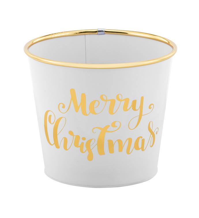 "6.5"" White Christmas Pot Cover"