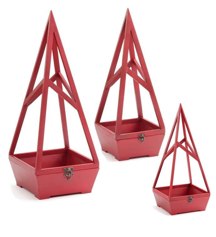 Red Terrarium, Set of 3