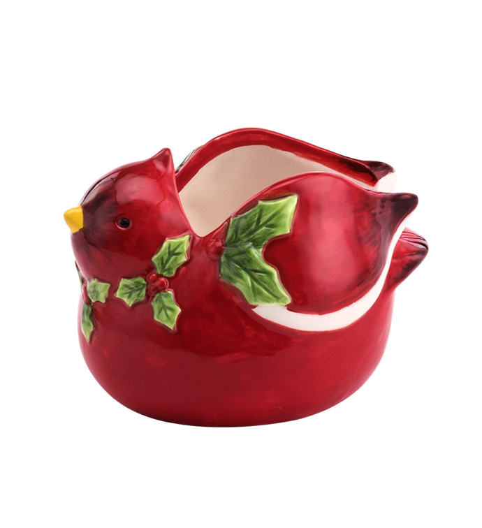Cardinal with Holly Planter