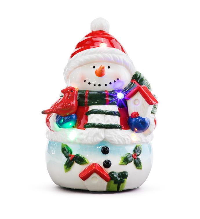 LED Holly/Bird Snowman