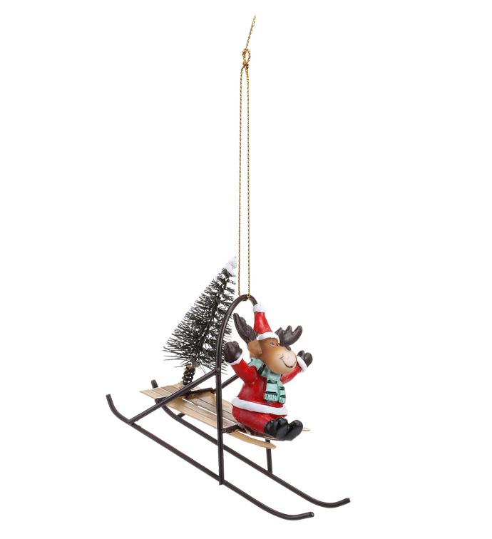 Santa Reindeer on Sleigh Ornament