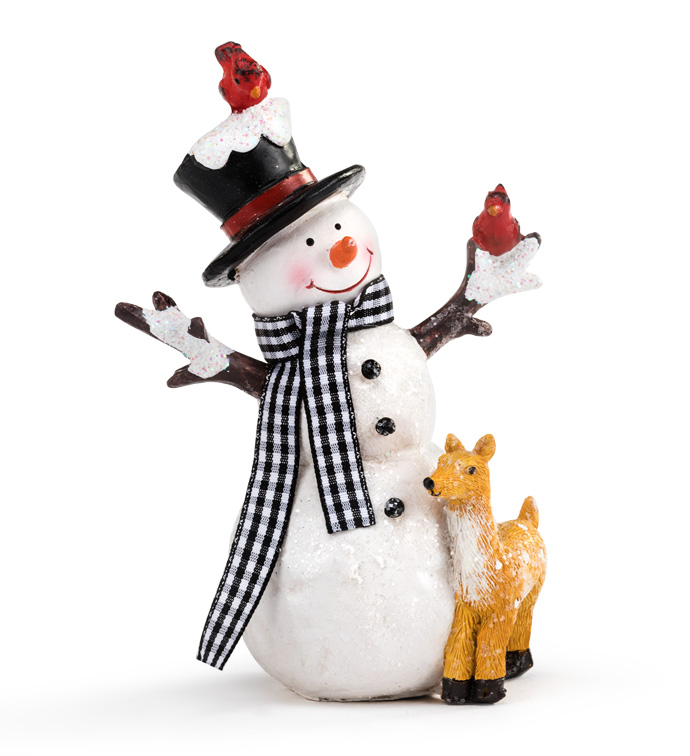 Large Snowman With Animals
