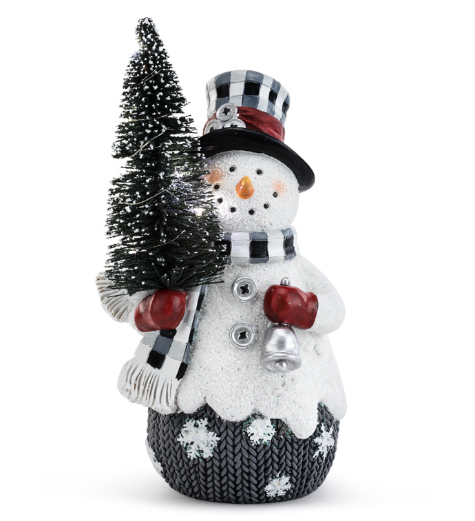 Snowman with LED Tree
