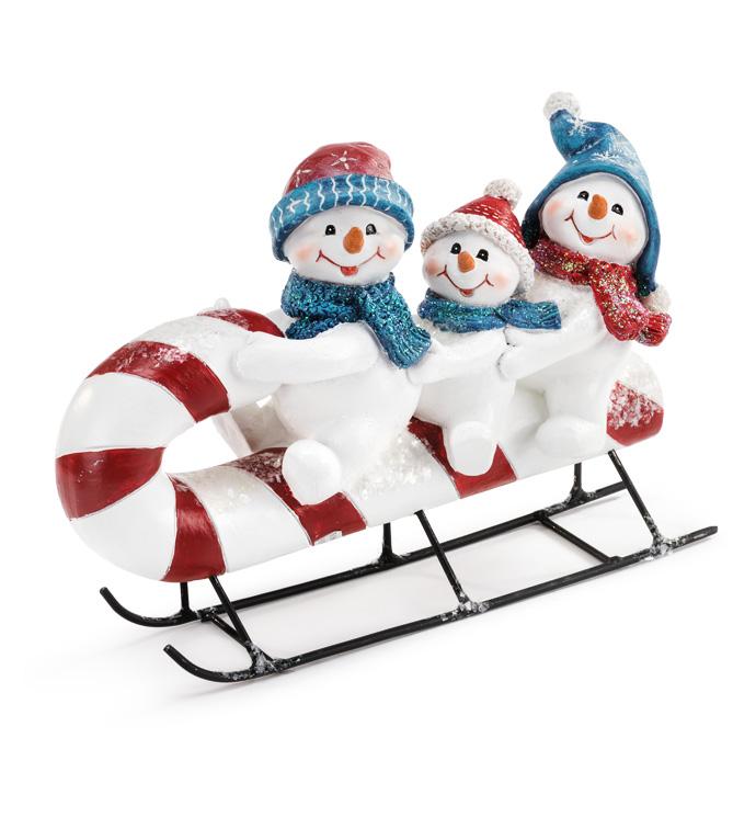 Retro Snowman Trio on Sled