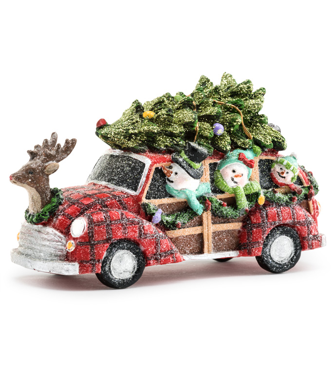 Snowmen in Car with Christmas Tree