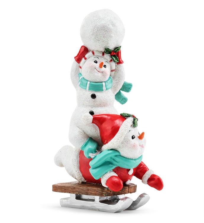 Glitter Snowmen on Sled