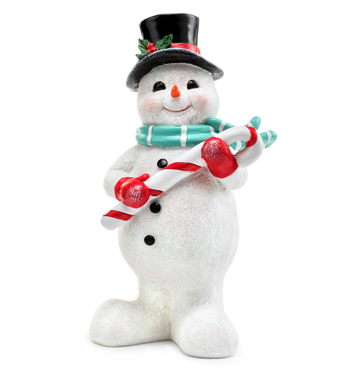 Glitter Snowman With Candy Cane