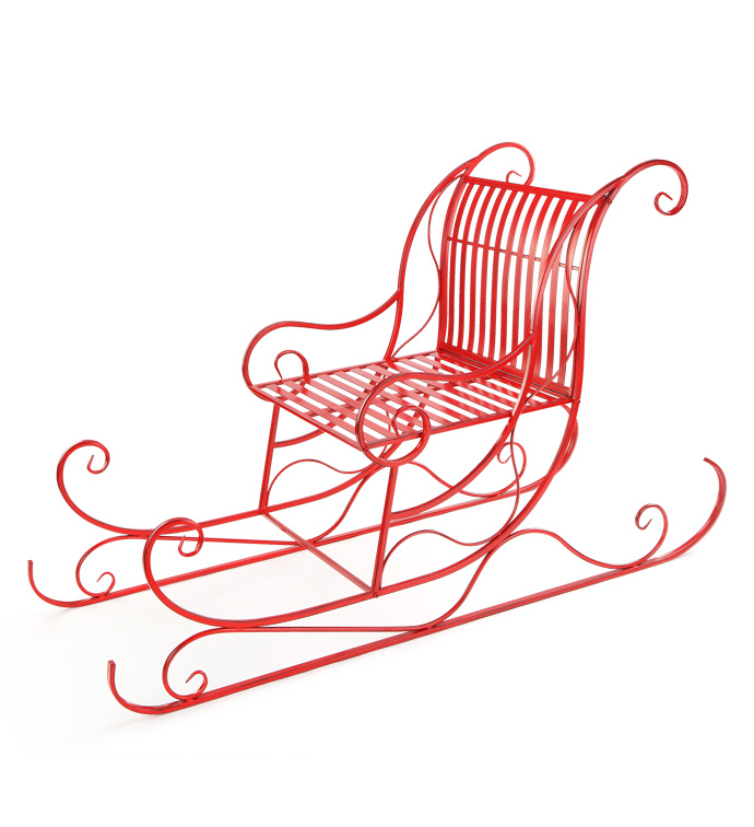 Red Scroll Bench Sleigh