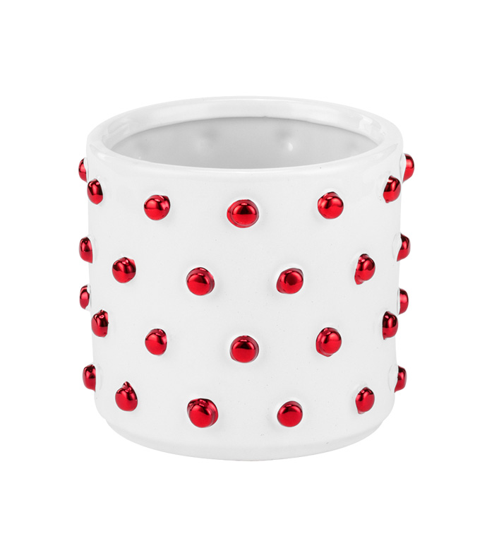Large White/Red Hobnail Planter