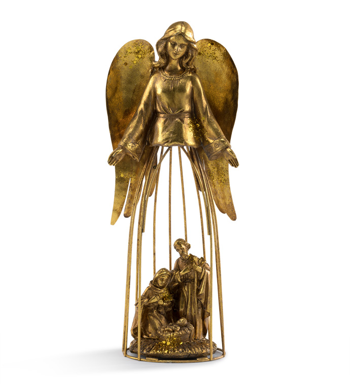 Gold Angel with Nativity
