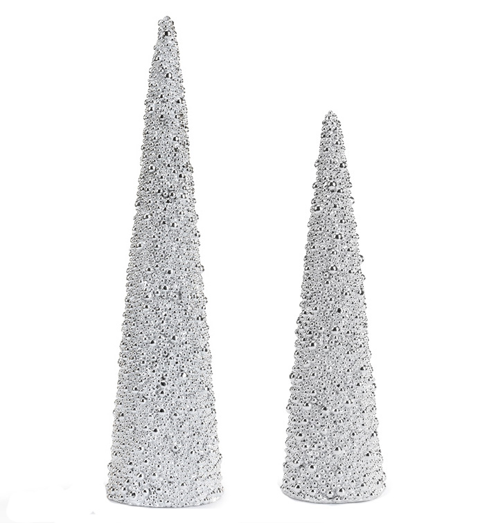 Silver Beaded Tree Set of 2