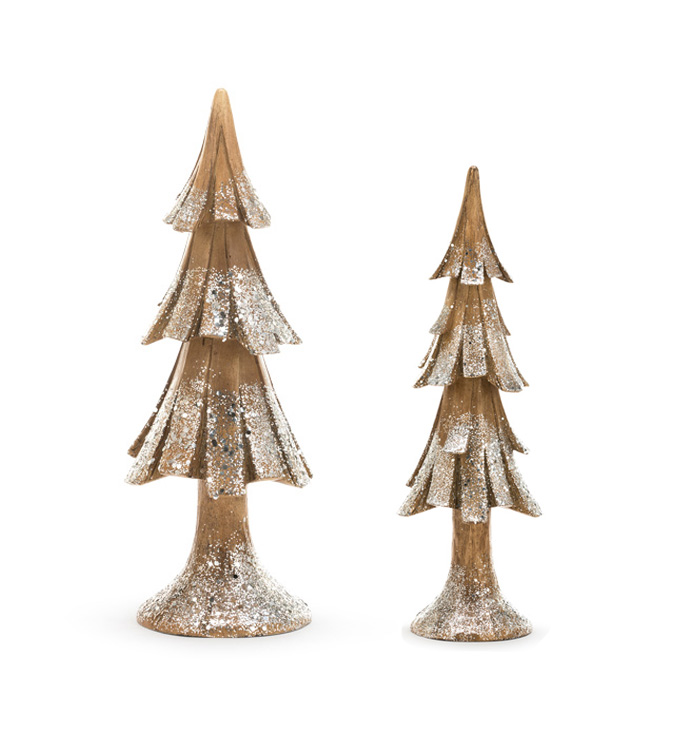 Brown Glitter Tree Set of 2