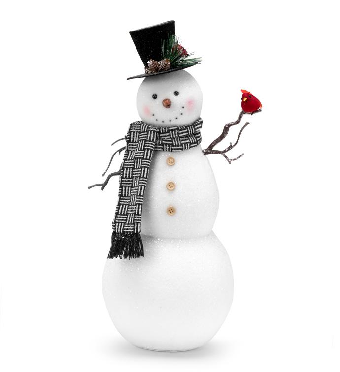 Snowman Holding Cardinal