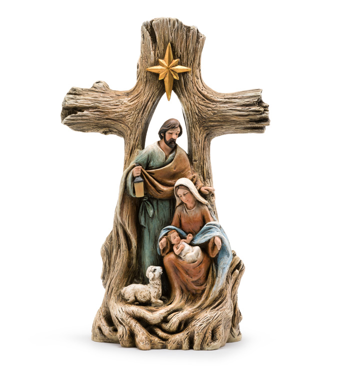 Nativity with Wood Grain Cross