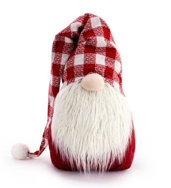 Extra Large Red Plaid Hat Gnome