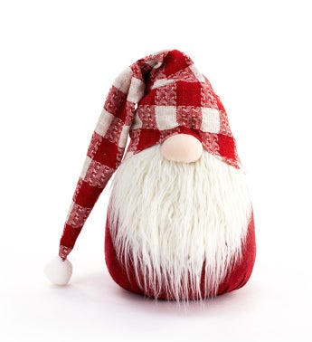Large Red Plaid Hat Gnome