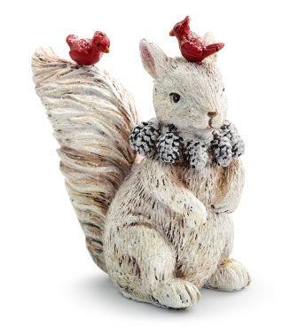 White Squirrel with Cardinals