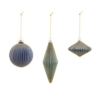 Beaded Striped Ornament, 3 Assorted