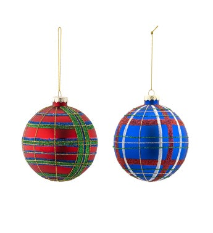Plaid Ornament, 2 Assorted