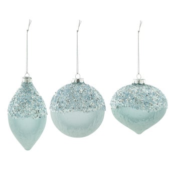 Blue Frost Ornament, 3 Assorted