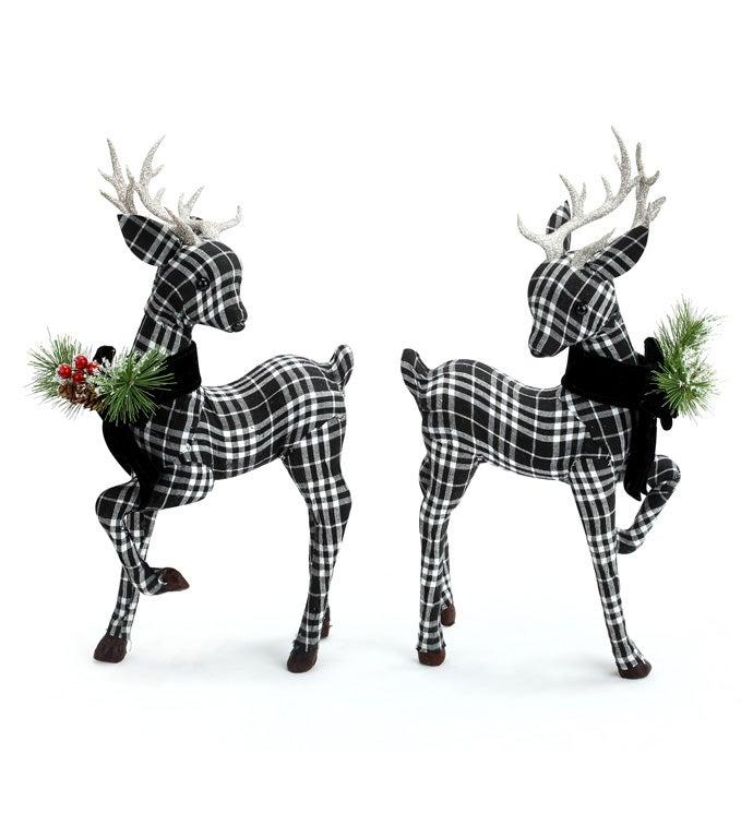 Black/White Plaid Deer, 2 Assorted