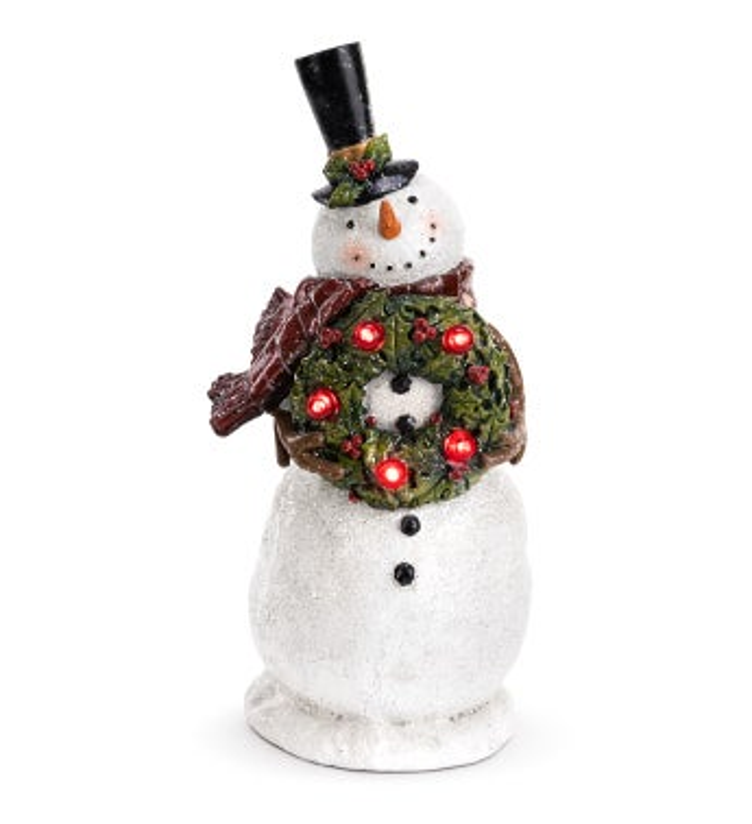 LED Snowman with Wreath
