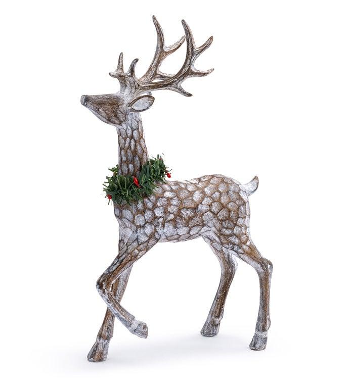 Standing Deer with Wreath