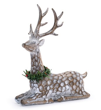 Laying Deer with Wreath