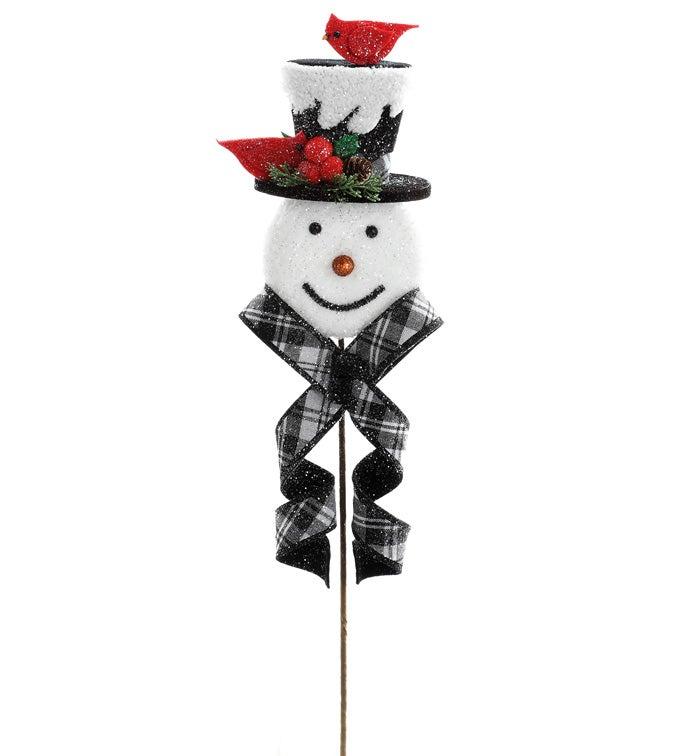 Snowman with Cardinal Pick