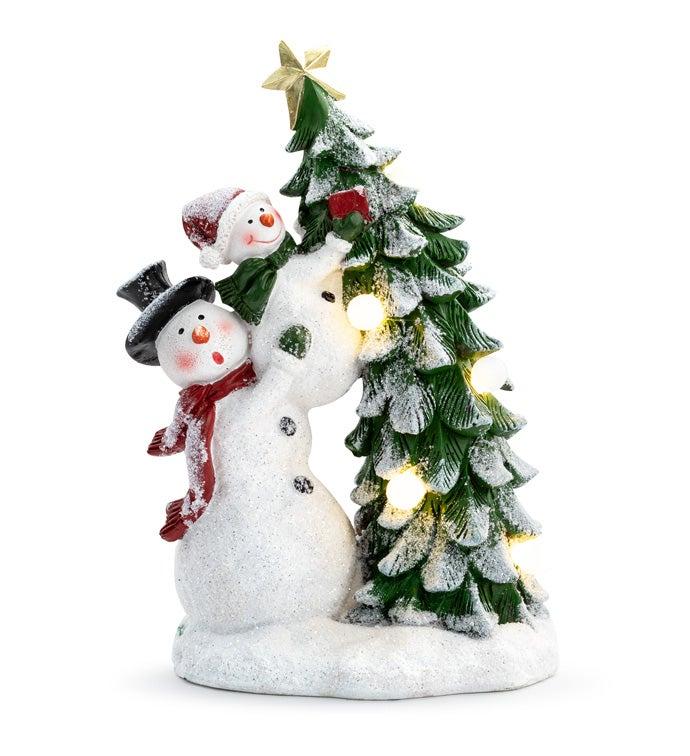 LED Snowmen with Tree