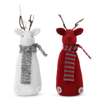 Reindeer with Scarf, 2 Assorted