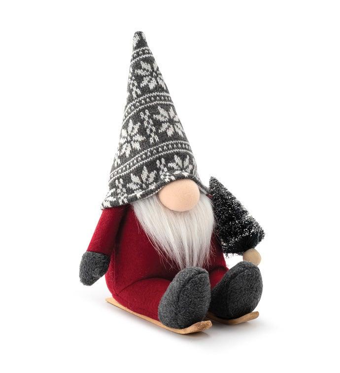 Red/Grey Sitting Ski Gnome