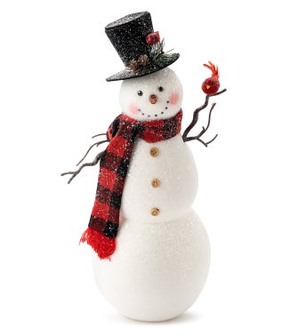 Traditional Snowman With Cardinal