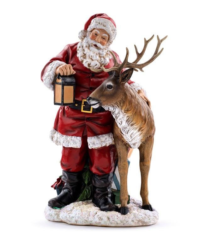 """17"""" Santa With Deer"""