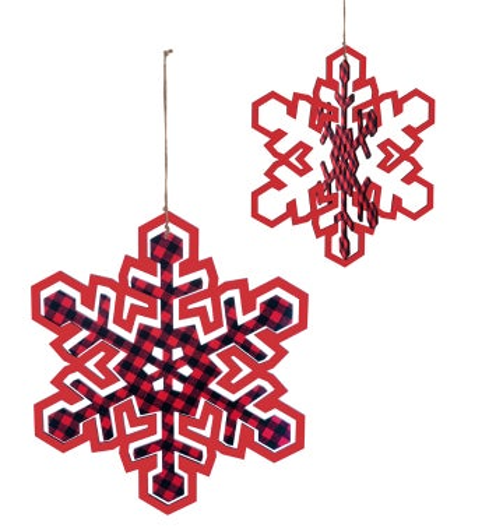 Red/Plaid Large Snowflake Ornament