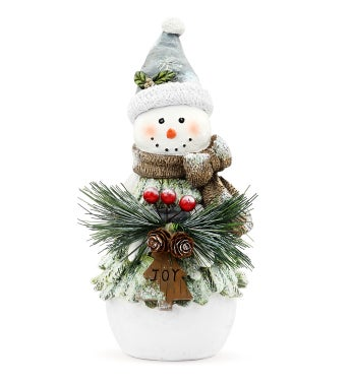 Snowman with Joy Sign