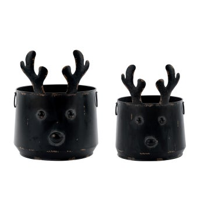 Distressed Reindeer Pot Cover, Set
