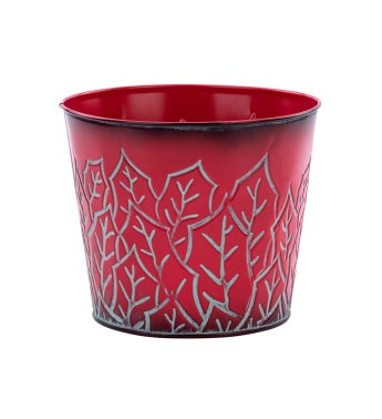 """6.5"""" Red Holly Leaf Pot Cover"""