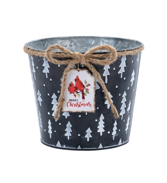 """6.5"""" Black Embossed Pot with Tag"""