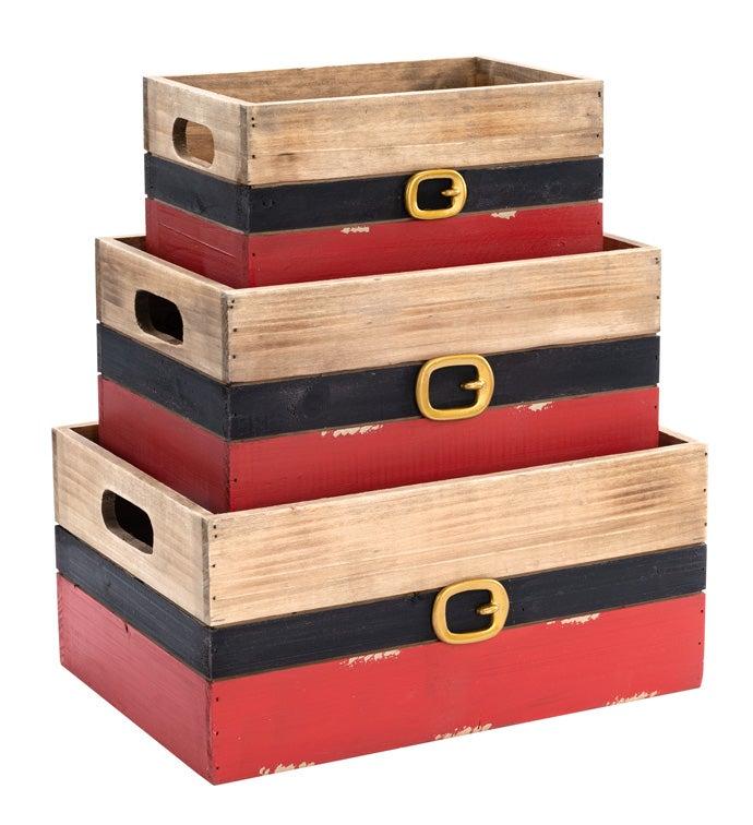 Santa Belt Crate Planters, Set of 3