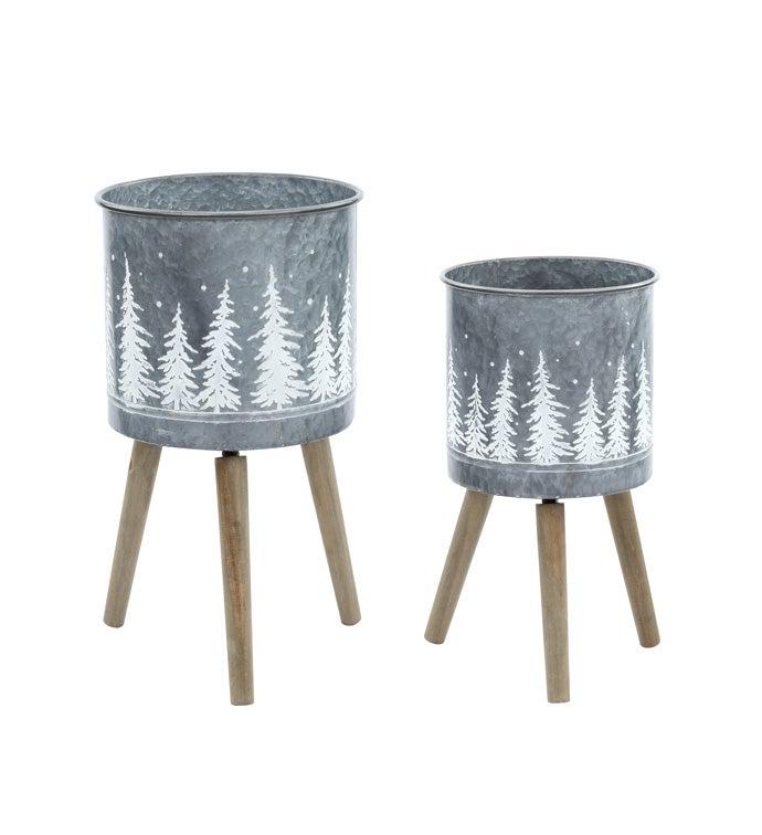 White/Grey Tree Planter/Stand, Set