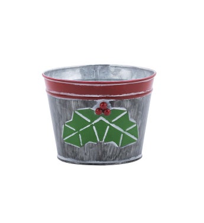 "5"" Dark Grey Holly Pot Cover"