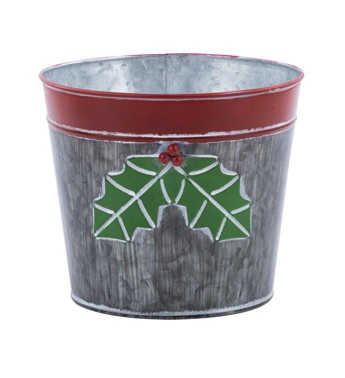 "6.5"" Dark Grey Holly Pot Cover"