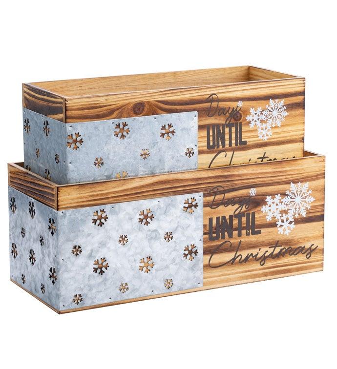 Snowflake Planter Box, Set of 2