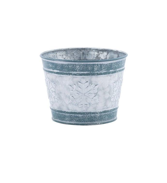 "5"" Blue Snowflake Pot Cover"