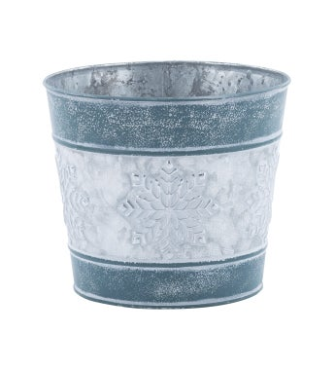 "6.5"" Blue Snowflake Pot Cover"