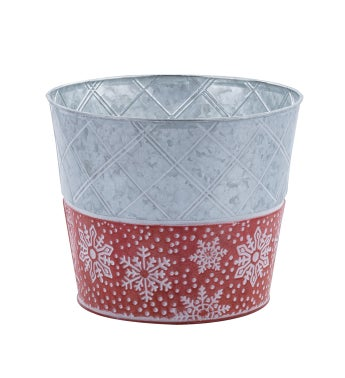 """8.5"""" Red/White Snowflake Pot Cover"""