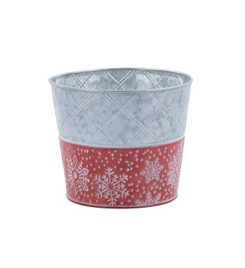 """6.5"""" Red/White Snowflake Pot Cover"""