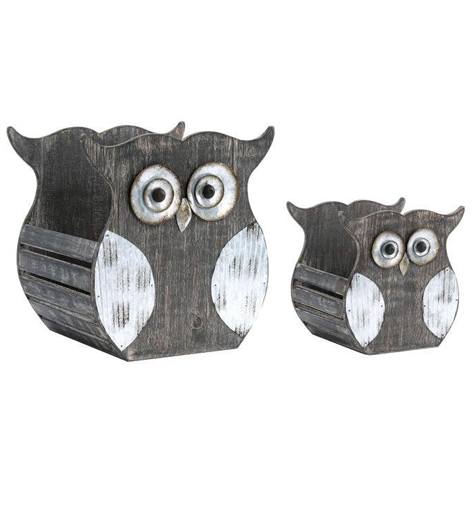 Vintage Owl Planter, Set of 2