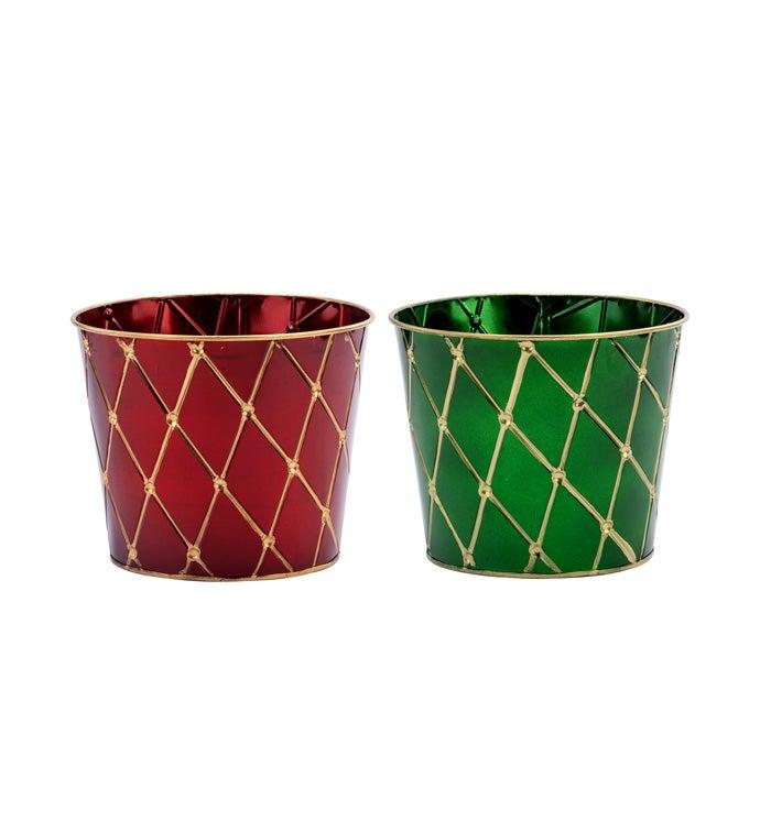 "6.5"" Red/Green Pot Cover, 2 Assorte"